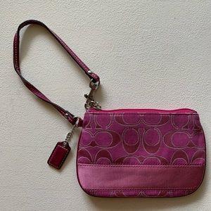 Coach - Signature Pink Wristlet Silver Stripe